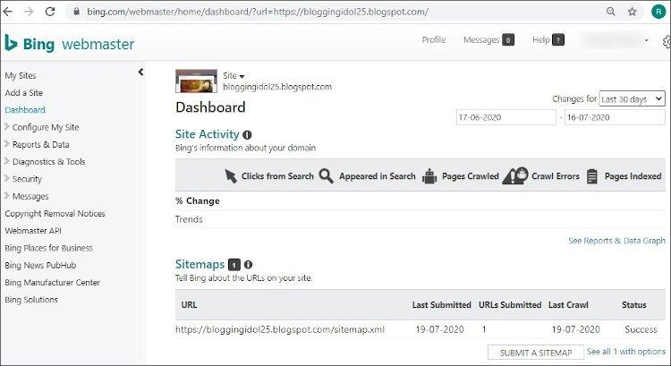 Bing Webmaster dashboard showing Sitemap