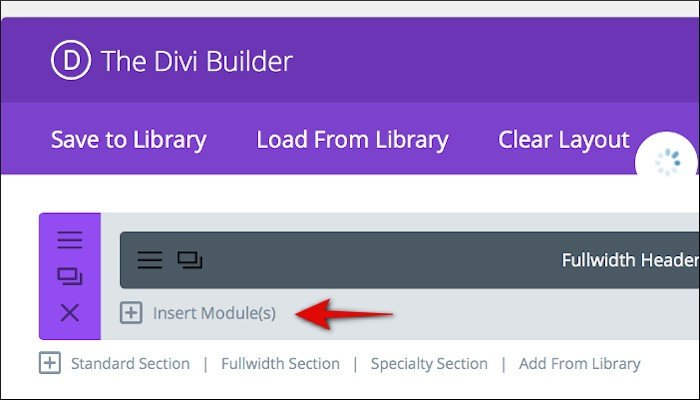 divi builder insert module