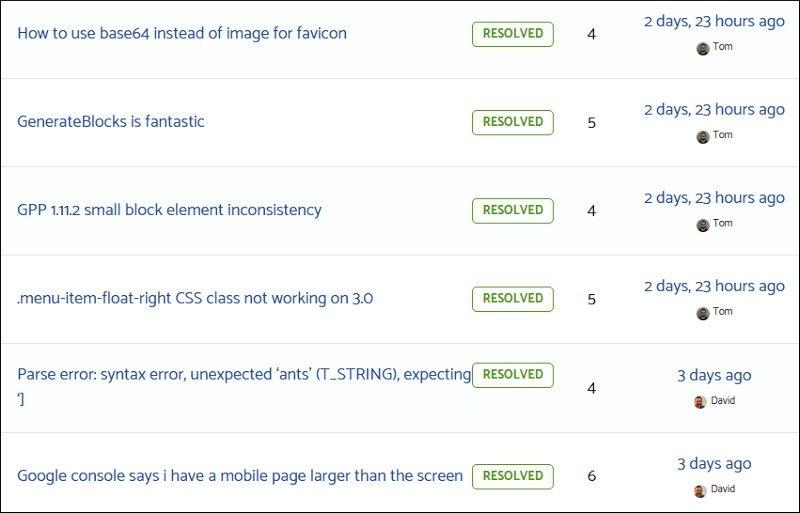 generatepress support screenshot