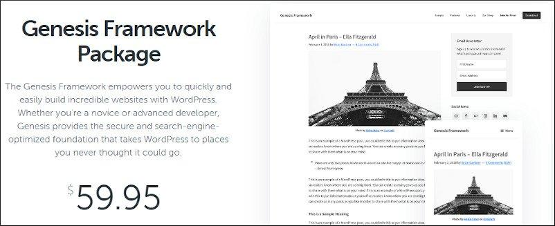 studiopress genesis framework (parent theme) pricing
