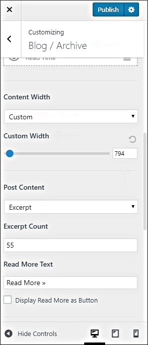 astra blog archive content width and excerpt count