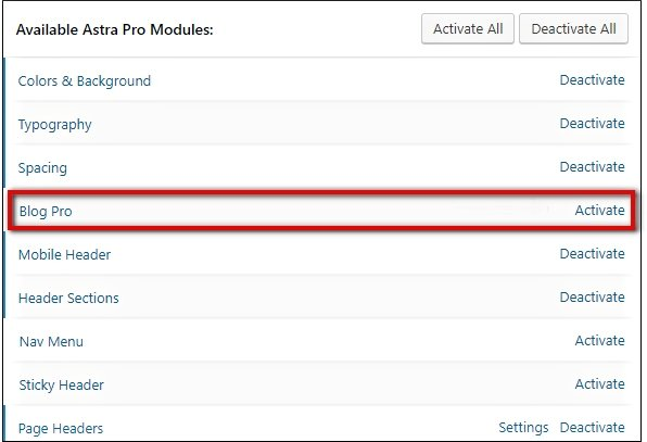 activate astra blog pro module