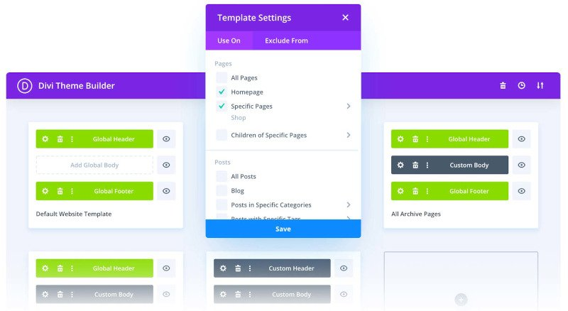add custom templates to different pages via divi theme builder