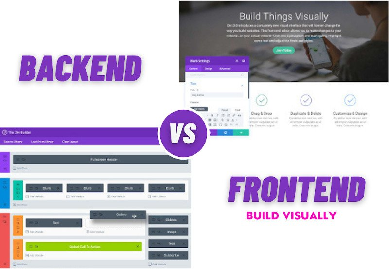 Divi visual builder front-end and back-end example