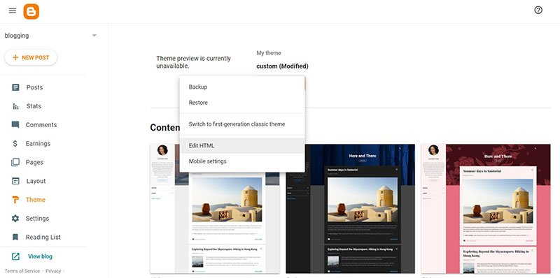 go to edit html under theme section in blogger
