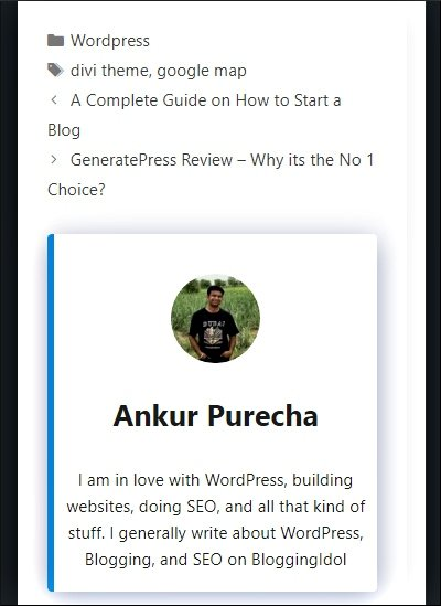 how to add author box in generatepress theme - mobile view