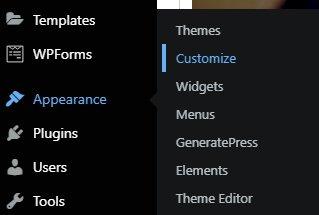 WordPress dashboard customize GeneratePress