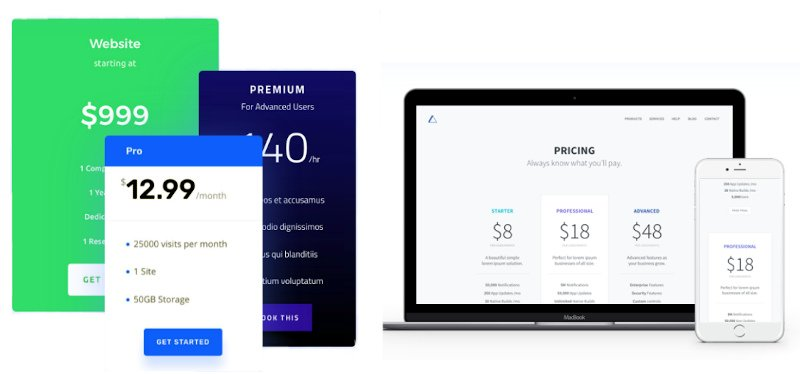 Divi price tables for sales pages or landing pages