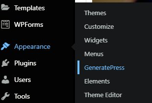 select GeneratePress from appearance under the WordPress dashboard