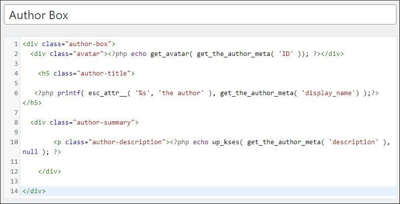 generatepress premium theme author box php code