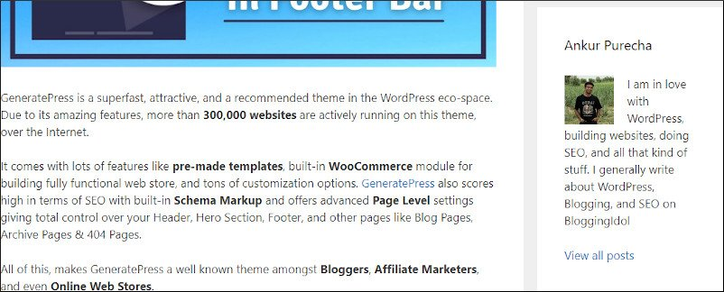 meks smart author box in right sidebar of post