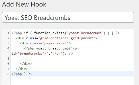adding Yoast SEO breadcrumbs code in GeneratePress hook