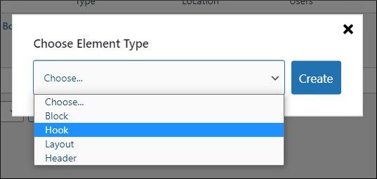 choose element type as hook