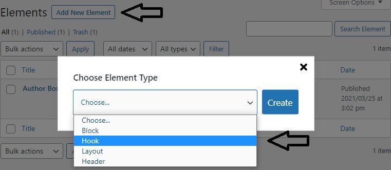 choosing Element type as Hook in GeneratePress premium theme