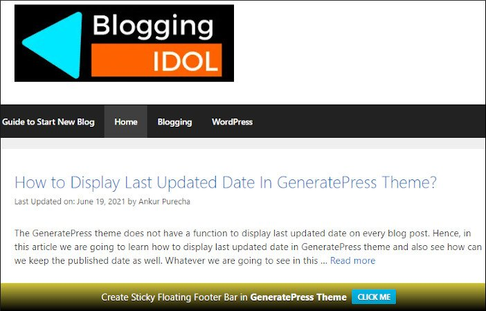 create sticky floating footer bar in GeneratePress theme using WPFront Notification Bar plugin