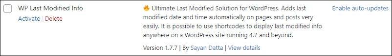 deactivated wp last modified info plugin