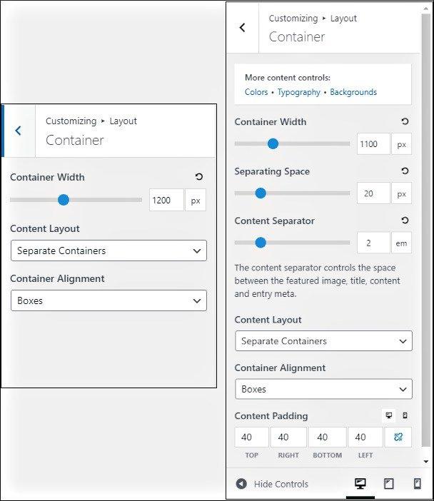 generatepress free vs premium container layout options