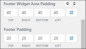 Exclusive footer widget and padding options seen only in premium version of GeneratePress