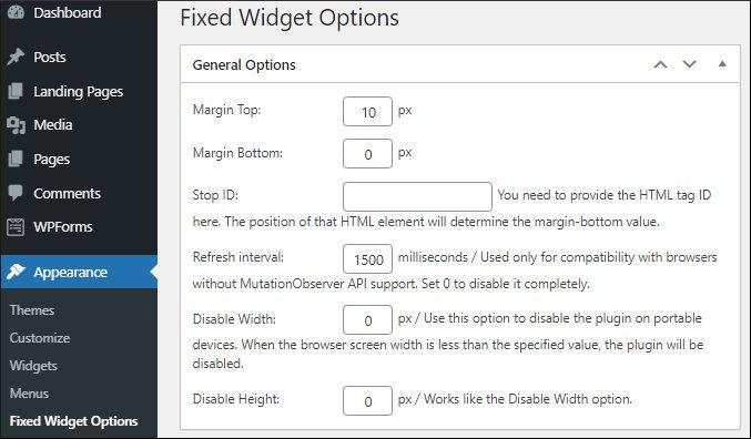 Q2W3 fixed widget options page