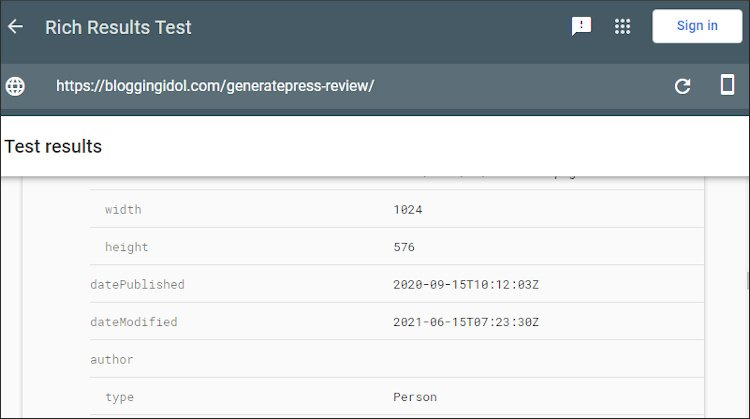 rich results test using smartphone bot displaying last updated date in generatepress theme