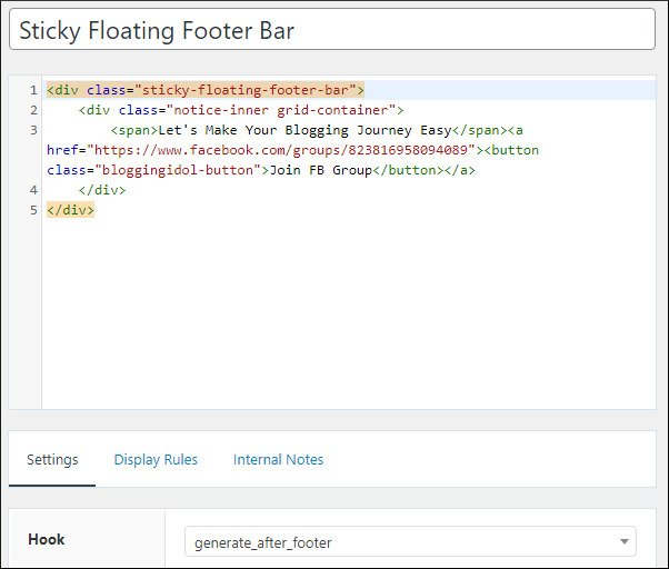 sticky floating footer bar hook code
