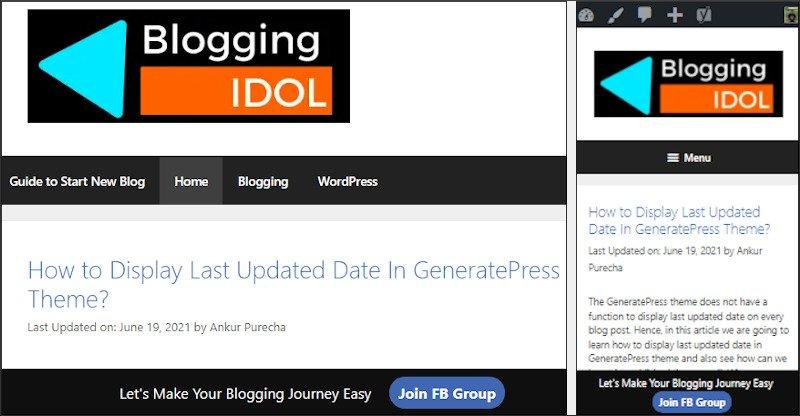 sticky floating footer bar desktop and mobile view of BloggingIdol
