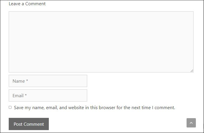 comment section without website field