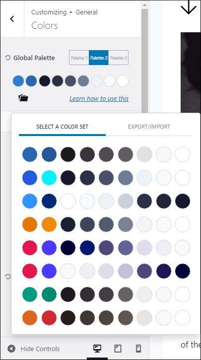 kadence customizing colors - 8 premade color sets