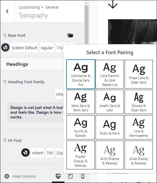 kadence customizing typography