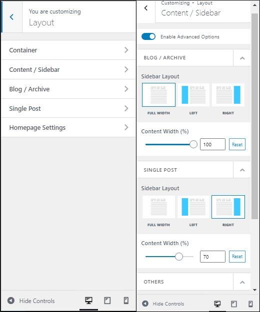 Neve layout and sidebar customization