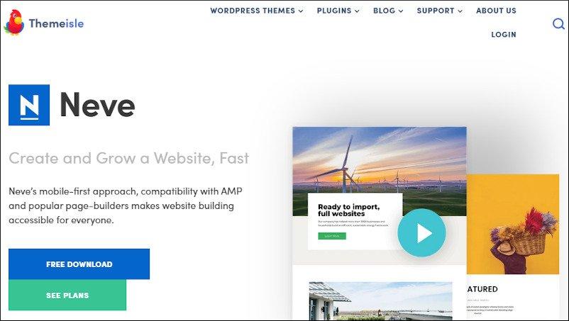 Neve WordPress theme - a fast generatepress alternative