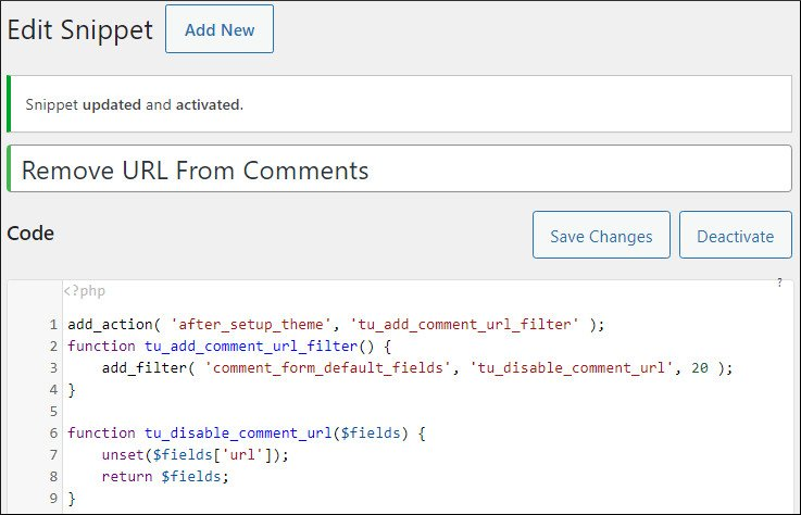 code snippets to remove URL field from comments in GeneratePress