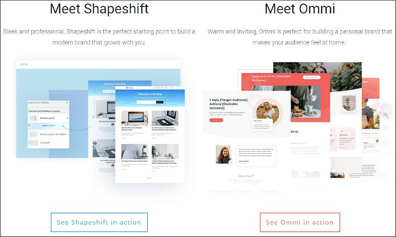 thrive theme builder with companion themes - shapeshift and ommi