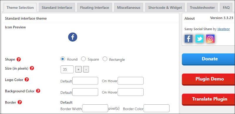 social sharing icons in GeneratePress using sassy social share - customizing settings