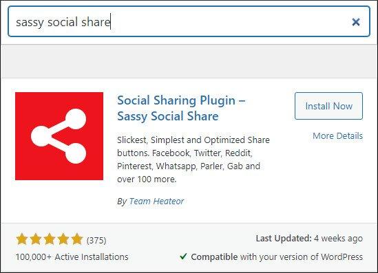 sassy social share in WordPress repository