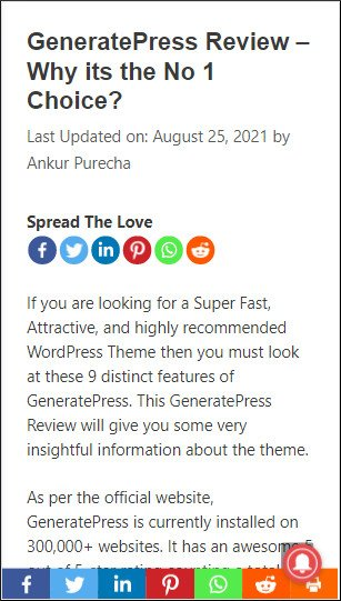 sassy social share - sticky footer social icons in GeneratePress mobile view